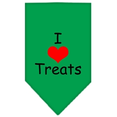 Mirage Pet Products I Heart Treats  Screen Print Bandana Emerald Green Large
