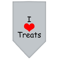 Mirage Pet Products I Heart Treats  Screen Print Bandana Grey Large