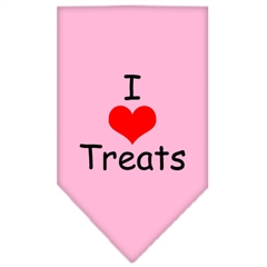 Mirage Pet Products I Heart Treats  Screen Print Bandana Light Pink Large