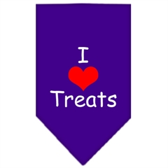 Mirage Pet Products I Heart Treats  Screen Print Bandana Purple Large