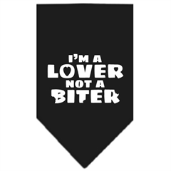 Mirage Pet Products I'm a Lover Not a Biter Screen Print Bandana Black Large