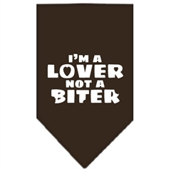 Mirage Pet Products I'm a Lover Not a Biter Screen Print Bandana Cocoa Large