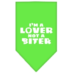 Mirage Pet Products I'm a Lover Not a Biter Screen Print Bandana Lime Green Small
