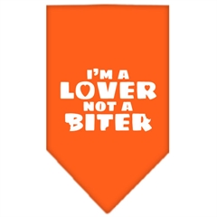 Mirage Pet Products I'm a Lover Not a Biter Screen Print Bandana Orange Small