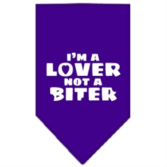 Mirage Pet Products I'm a Lover Not a Biter Screen Print Bandana Purple Small