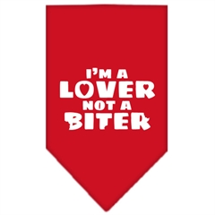 Mirage Pet Products I'm a Lover Not a Biter Screen Print Bandana Red Small