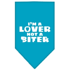 Mirage Pet Products I'm a Lover Not a Biter Screen Print Bandana Turquoise Large