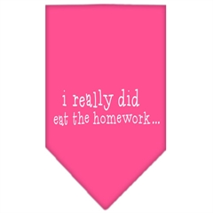 Mirage Pet Products I really did eat the Homework Screen Print Bandana Bright Pink Small