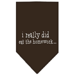Mirage Pet Products I really did eat the Homework Screen Print Bandana Cocoa Large