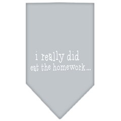 Mirage Pet Products I really did eat the Homework Screen Print Bandana Grey Large
