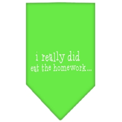Mirage Pet Products I really did eat the Homework Screen Print Bandana Lime Green Large