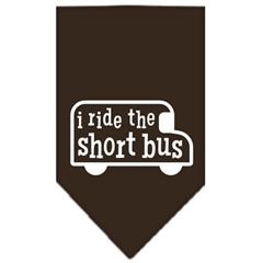 Mirage Pet Products I ride the short bus Screen Print Bandana Cocoa Large