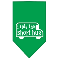 Mirage Pet Products I ride the short bus Screen Print Bandana Emerald Green Small