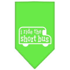 Mirage Pet Products I ride the short bus Screen Print Bandana Lime Green Large