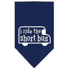Mirage Pet Products I ride the short bus Screen Print Bandana Navy Blue Small