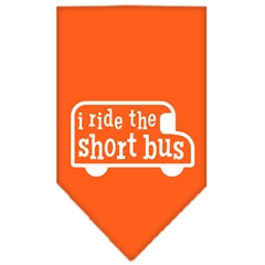 Mirage Pet Products I ride the short bus Screen Print Bandana Orange Large