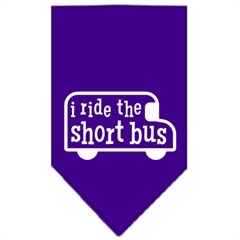 Mirage Pet Products I ride the short bus Screen Print Bandana Purple Large