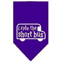 Mirage Pet Products I ride the short bus Screen Print Bandana Purple Small