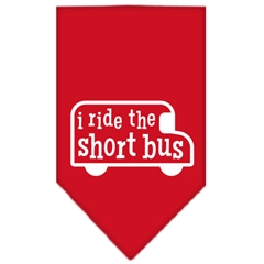 Mirage Pet Products I ride the short bus Screen Print Bandana Red Large