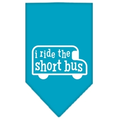 Mirage Pet Products I ride the short bus Screen Print Bandana Turquoise Large