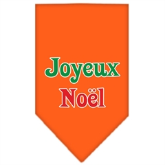 Mirage Pet Products Joyeux Noel Screen Print Bandana Orange Large