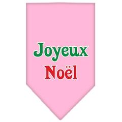 Mirage Pet Products Joyeux Noel Screen Print Bandana Light Pink Large