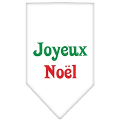 Mirage Pet Products Joyeux Noel Screen Print Bandana White Large