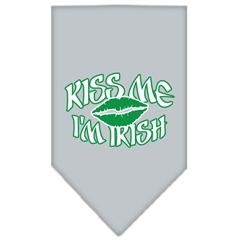 Mirage Pet Products Kiss me I'm Irish Screen Print Bandana Grey Large