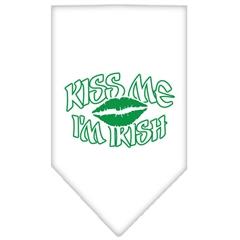 Mirage Pet Products Kiss me I'm Irish Screen Print Bandana White Small
