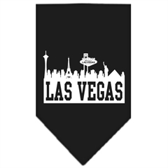 Mirage Pet Products Las Vegas Skyline Screen Print Bandana Black Large