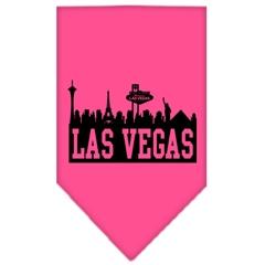 Mirage Pet Products Las Vegas Skyline Screen Print Bandana Bright Pink Large