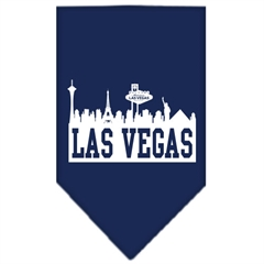 Mirage Pet Products Las Vegas Skyline Screen Print Bandana Navy Blue large