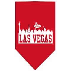 Mirage Pet Products Las Vegas Skyline Screen Print Bandana Red Small