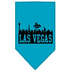 Mirage Pet Products Las Vegas Skyline Screen Print Bandana Turquoise Small