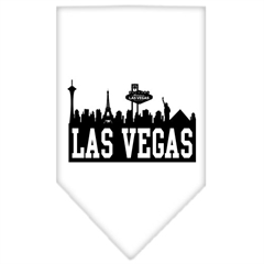 Mirage Pet Products Las Vegas Skyline Screen Print Bandana White Small