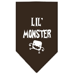 Mirage Pet Products Lil Monster  Screen Print Bandana Cocoa Small