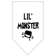 Mirage Pet Products Lil Monster  Screen Print Bandana White Large