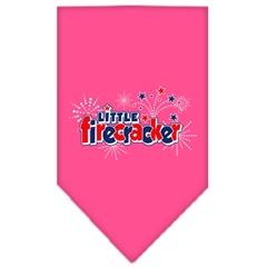 Mirage Pet Products Little Firecracker Screen Print Bandana Bright Pink Large