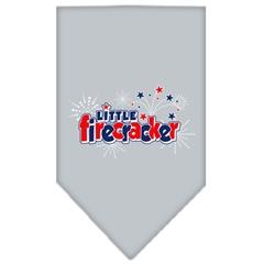 Mirage Pet Products Little Firecracker Screen Print Bandana Grey Small