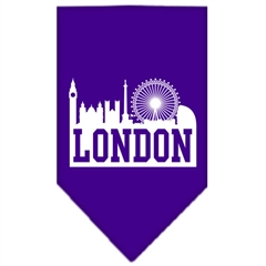 Mirage Pet Products London Skyline Screen Print Bandana Purple Small