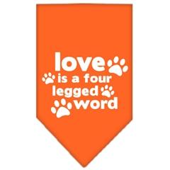 Mirage Pet Products Love is a Four Leg Word Screen Print Bandana Orange Small