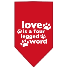 Mirage Pet Products Love is a Four Leg Word Screen Print Bandana Red Small