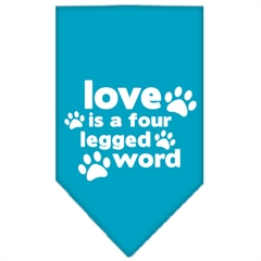 Mirage Pet Products Love is a Four Leg Word Screen Print Bandana Turquoise Small