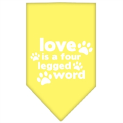 Mirage Pet Products Love is a Four Leg Word Screen Print Bandana Yellow Large