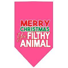 Mirage Pet Products Ya Filthy Animal Screen Print Pet Bandana Bright Pink Size Small