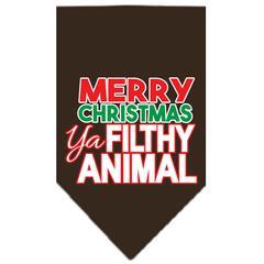 Mirage Pet Products Ya Filthy Animal Screen Print Pet Bandana Cocoa Size Small