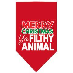Mirage Pet Products Ya Filthy Animal Screen Print Pet Bandana Red Size Small