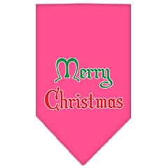 Mirage Pet Products Merry Christmas Screen Print Bandana Bright Pink Large