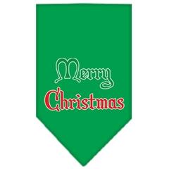 Mirage Pet Products Merry Christmas Screen Print Bandana Emerald Green Small