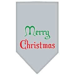 Mirage Pet Products Merry Christmas Screen Print Bandana Grey Large